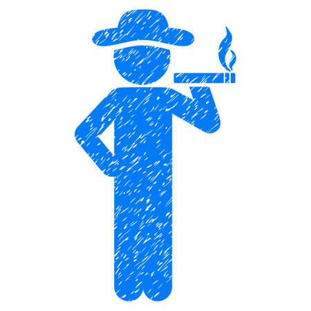 ciggy: Smoking Gentleman grainy textured icon for overlay watermark stamps. Flat symbol with scratched texture. Dotted glyph blue ink rubber seal stamp with grunge design on a white background.