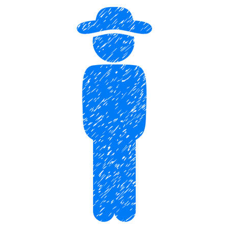 Gentleman Standing grainy textured icon for overlay watermark stamps. Flat symbol with scratched texture. Dotted glyph blue ink rubber seal stamp with grunge design on a white background. Stock Photo