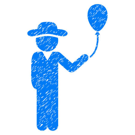 Gentleman With Balloon grainy textured icon for overlay watermark stamps. Flat symbol with dirty texture. Dotted glyph blue ink rubber seal stamp with grunge design on a white background.