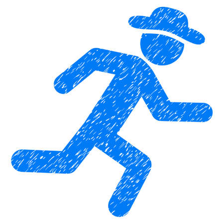 Running Gentleman grainy textured icon for overlay watermark stamps. Flat symbol with dust texture. Dotted glyph blue ink rubber seal stamp with grunge design on a white background. Stock Photo