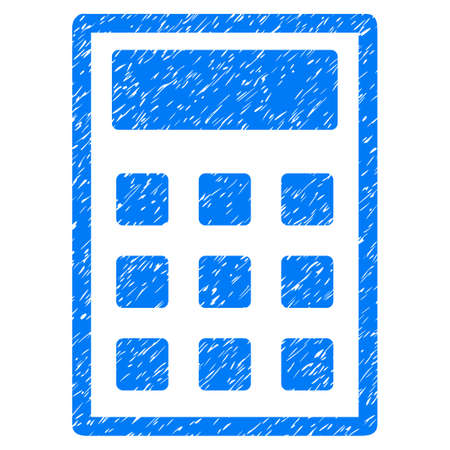 adder: Calculator grainy textured icon for overlay watermark stamps. Flat symbol with unclean texture. Dotted vector blue ink rubber seal stamp with grunge design on a white background.