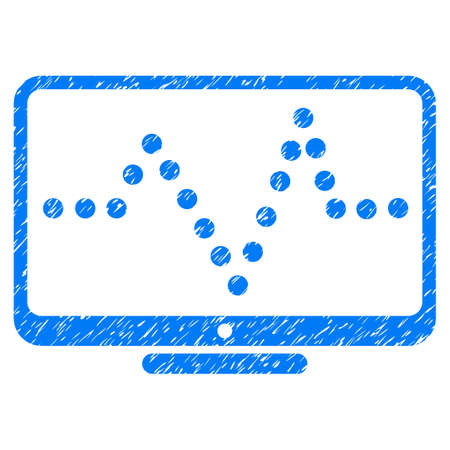 to pulsate: Pulse Chart grainy textured icon for overlay watermark stamps. Flat symbol with unclean texture. Dotted vector blue ink rubber seal stamp with grunge design. Designed with round dots. Illustration