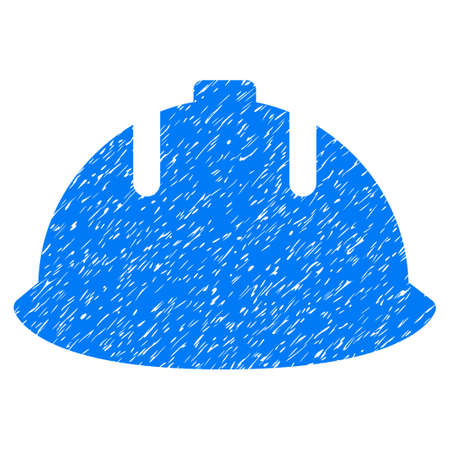 Builder Helmet grainy textured icon for overlay watermark stamps. Flat symbol with unclean texture. Dotted vector blue ink rubber seal stamp with grunge design on a white background.