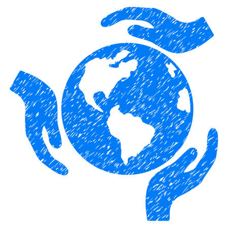 Earth Protection grainy textured icon for overlay watermark stamps. Flat symbol with dirty texture. Dotted vector blue ink rubber seal stamp with grunge design on a white background. Illustration