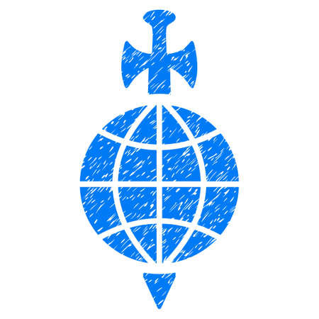 Global Guard grainy textured icon for overlay watermark stamps. Flat symbol with dust texture. Dotted vector blue ink rubber seal stamp with grunge design on a white background.