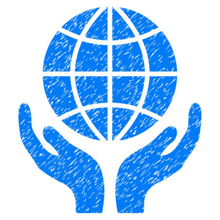 Global Hands grainy textured icon for overlay watermark stamps. Flat symbol with dust texture. Dotted vector blue ink rubber seal stamp with grunge design on a white background.