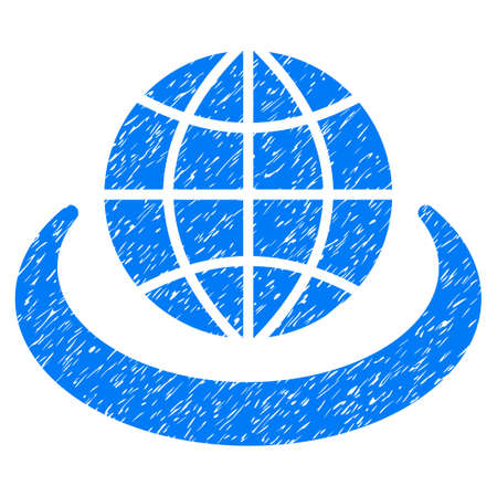 Global Network grainy textured icon for overlay watermark stamps. Flat symbol with scratched texture. Dotted vector blue ink rubber seal stamp with grunge design on a white background.