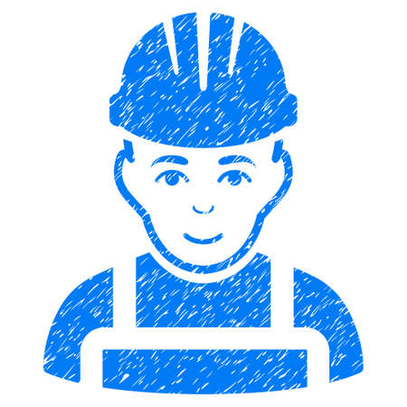 Happy Mechanic grainy textured icon for overlay watermark stamps. Flat symbol with dirty texture. Dotted vector blue ink rubber seal stamp with grunge design on a white background.