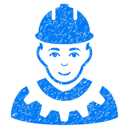 Industrial Builder grainy textured icon for overlay watermark stamps. Flat symbol with dust texture. Dotted vector blue ink rubber seal stamp with grunge design on a white background.