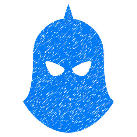 Knight Helmet grainy textured icon for overlay watermark stamps. Flat symbol with unclean texture. Dotted vector blue ink rubber seal stamp with grunge design on a white background.