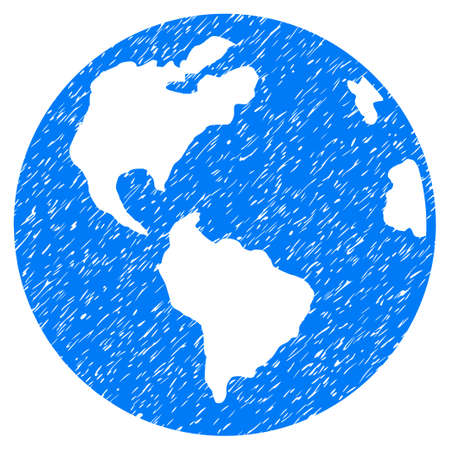 Planet Earth grainy textured icon for overlay watermark stamps. Flat symbol with scratched texture. Dotted vector blue ink rubber seal stamp with grunge design on a white background.