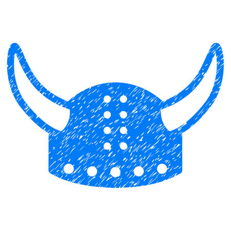 Horned Helmet grainy textured icon for overlay watermark stamps. Flat symbol with unclean texture. Dotted vector blue ink rubber seal stamp with grunge design on a white background.