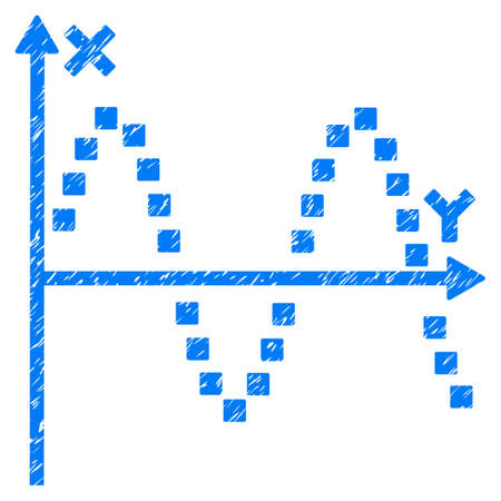 alternating current: Sine Plot grainy textured icon for overlay watermark stamps. Flat symbol with scratched texture. Dotted vector blue ink rubber seal stamp with grunge design. Designed with square dots.