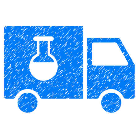 Chemical Delivery Truck grainy textured icon for overlay watermark stamps. Flat symbol with dirty texture. Dotted vector blue ink rubber seal stamp with grunge design on a white background. Illustration