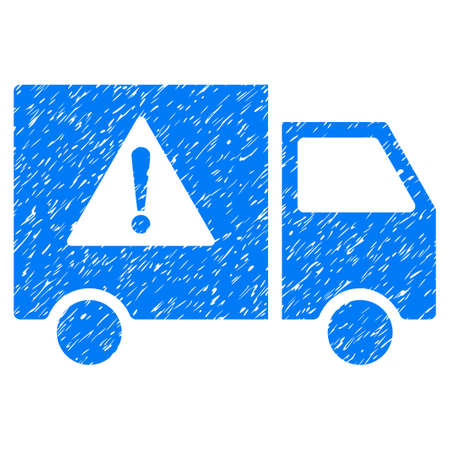 Danger Transport Truck grainy textured icon for overlay watermark stamps. Flat symbol with dust texture. Dotted vector blue ink rubber seal stamp with grunge design on a white background.