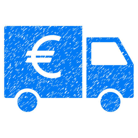 Euro Car grainy textured icon for overlay watermark stamps. Flat symbol with scratched texture. Dotted vector blue ink rubber seal stamp with grunge design on a white background. Illustration