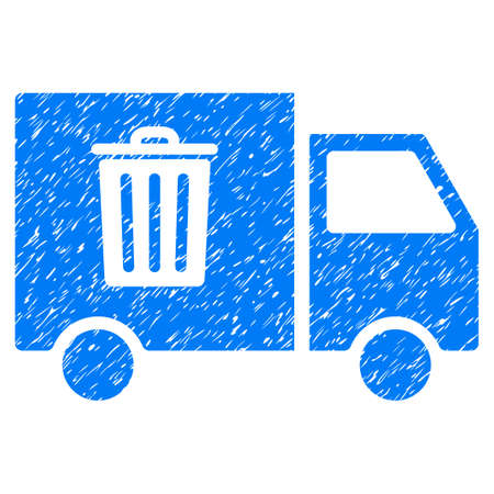 Rubbish Transport Van grainy textured icon for overlay watermark stamps. Flat symbol with scratched texture. Dotted vector blue ink rubber seal stamp with grunge design on a white background.
