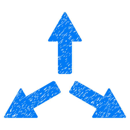 Expand Arrows grainy textured icon for overlay watermark stamps. Flat symbol with dust texture. Dotted vector blue ink rubber seal stamp with grunge design on a white background.