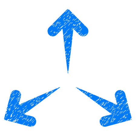 Expand Arrows grainy textured icon for overlay watermark stamps. Flat symbol with dirty texture. Dotted vector blue ink rubber seal stamp with grunge design on a white background.