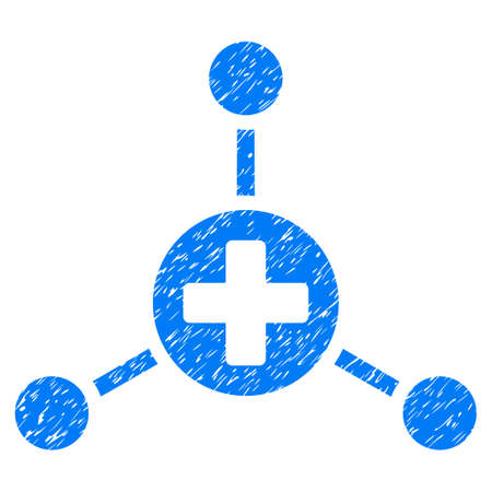Medical Center grainy textured icon for overlay watermark stamps. Flat symbol with unclean texture. Dotted vector blue ink rubber seal stamp with grunge design on a white background.