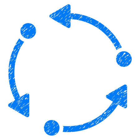 Rotate grainy textured icon for overlay watermark stamps. Flat symbol with unclean texture. Dotted vector blue ink rubber seal stamp with grunge design on a white background. 向量圖像