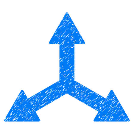 Triple Arrows grainy textured icon for overlay watermark stamps. Flat symbol with unclean texture. Dotted vector blue ink rubber seal stamp with grunge design on a white background. Векторная Иллюстрация