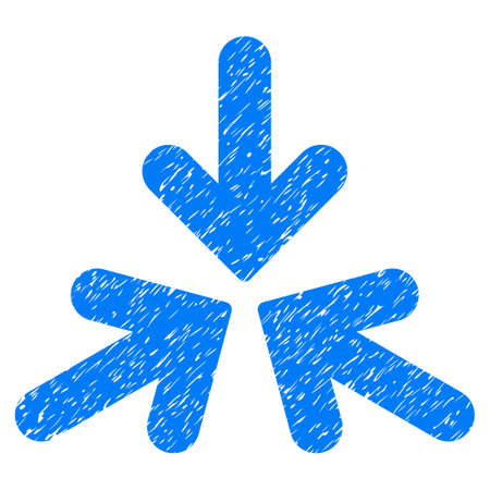 Triple Collide Arrows grainy textured icon for overlay watermark stamps. Flat symbol with unclean texture. Dotted vector blue ink rubber seal stamp with grunge design on a white background.