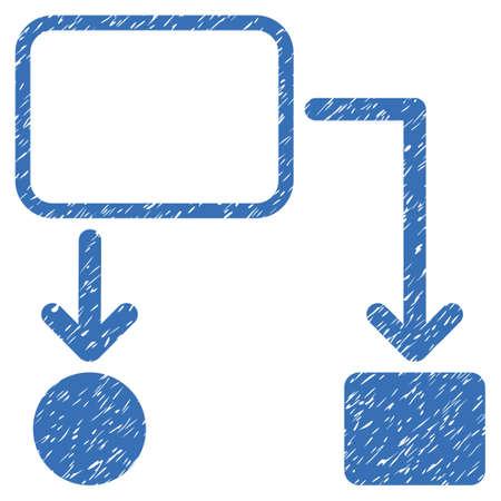 diagrama de flujo: Esquema diagrama de flujo icono de textura granulosa de sellos de agua de superposición. símbolo plana con textura rayada. Punteada vector de caucho tinta azul sello sello con el diseño del grunge sobre un fondo blanco.