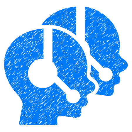 operators: Call Center Operators grainy textured icon for overlay watermark stamps. Flat symbol with dust texture. Dotted vector blue ink rubber seal stamp with grunge design on a white background.