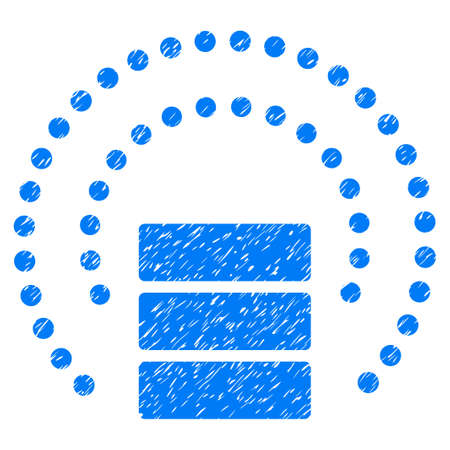Database Sphere Shield grainy textured icon for overlay watermark stamps. Flat symbol with unclean texture. Dotted glyph blue ink rubber seal stamp with grunge design. Designed with round dots.