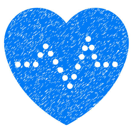 Heart Pulse grainy textured icon for overlay watermark stamps. Flat symbol with scratched texture. Dotted glyph blue ink rubber seal stamp with grunge design. Designed with round dots.