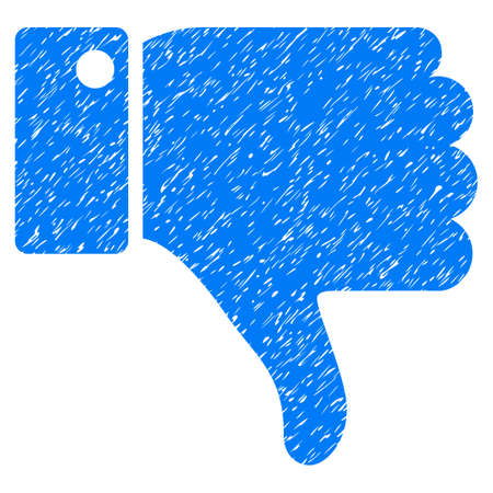 ugly gesture ugly gesture: Thumb Down grainy textured icon for overlay watermark stamps. Flat symbol with unclean texture. Dotted vector blue ink rubber seal stamp with grunge design on a white background. Illustration