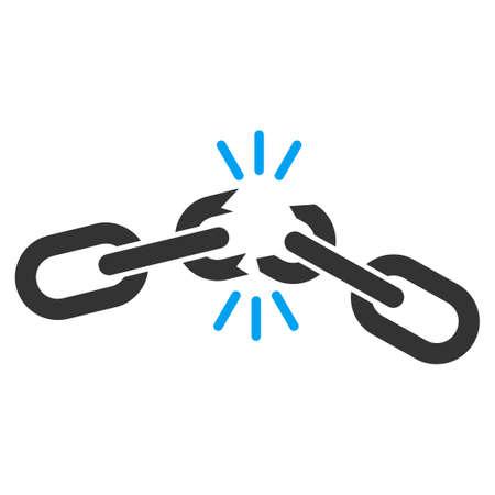 Cadena de iconos de vectores daños. azul bicolor plana y símbolo gris. Pictograma está aislado en un fondo blanco. Diseñado para interfaces web y software.