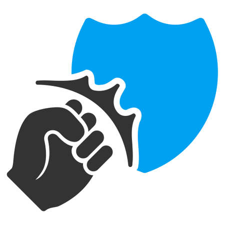 Fist Strike Shield vector icon. Flat bicolor blue and gray symbol. Pictogram is isolated on a white background. Designed for web and software interfaces.