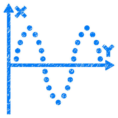 alternating current: Sinusoid Plot grainy textured icon for overlay watermark stamps. Flat symbol with dust texture. Dotted glyph blue ink rubber seal stamp with grunge design. Designed with round dots. Stock Photo
