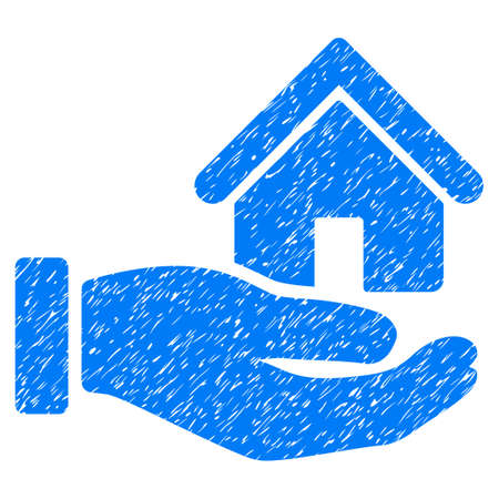 Real Estate Offer Hand grainy textured icon for overlay watermark stamps. Flat symbol with scratched texture. Dotted glyph blue ink rubber seal stamp with grunge design on a white background.