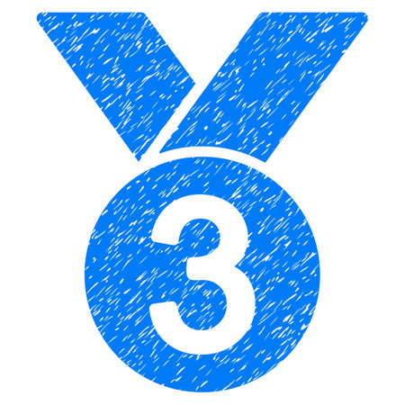 favorite number: Bronze Medal grainy textured icon for overlay watermark stamps. Flat symbol with unclean texture. Dotted vector blue ink rubber seal stamp with grunge design on a white background. Illustration