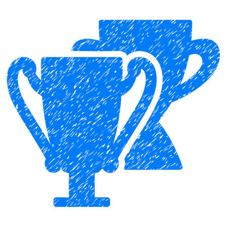 Trophy Cups grainy textured icon for overlay watermark stamps. Flat symbol with dust texture. Dotted vector blue ink rubber seal stamp with grunge design on a white background. Stock Photo