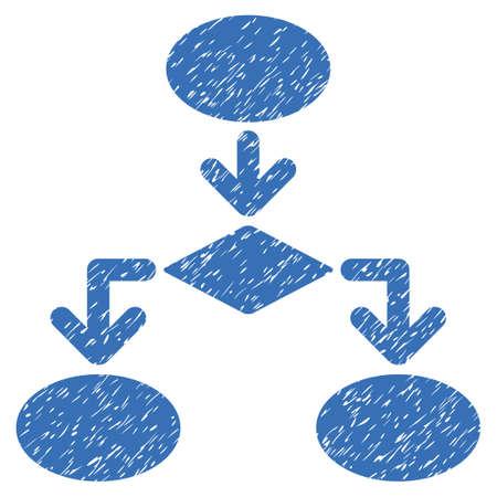 diagrama de flujo: Diagrama de flujo icono de textura granulosa de sellos de agua de superposición. símbolo plana con textura de polvo. glifo de puntos sello de junta de goma de tinta azul con el diseño del grunge sobre un fondo blanco. Foto de archivo