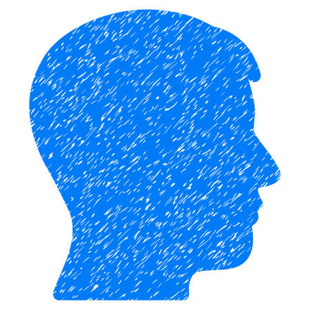 Man Profile grainy textured icon for overlay watermark stamps. Flat symbol with dust texture. Dotted raster blue ink rubber seal stamp with grunge design on a white background.