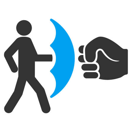 violación: Crime Protection glyph icon. Flat bicolor blue and gray symbol. Pictogram is isolated on a white background. Designed for web and software interfaces.