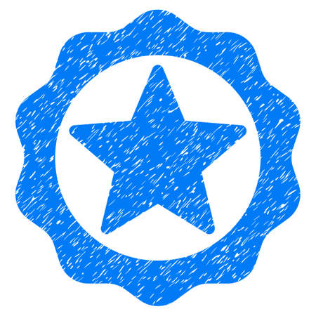 Award Star Seal grainy textured icon for overlay watermark stamps. Flat symbol with unclean texture. Dotted raster blue ink rubber seal stamp with grunge design on a white background.