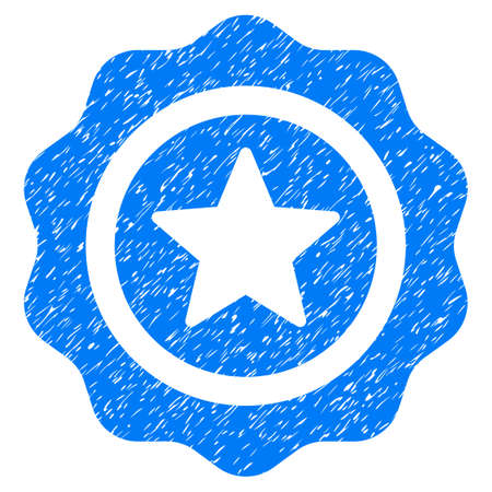 Reward Seal grainy textured icon for overlay watermark stamps. Flat symbol with unclean texture. Dotted raster blue ink rubber seal stamp with grunge design on a white background.