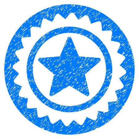 Star Medal Seal grainy textured icon for overlay watermark stamps. Flat symbol with scratched texture. Dotted raster blue ink rubber seal stamp with grunge design on a white background.