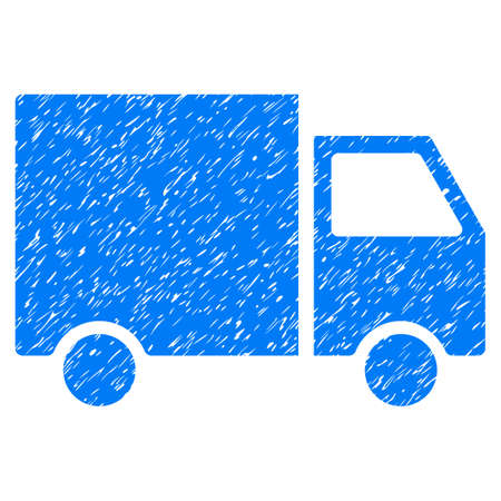 Shipment Van grainy textured icon for overlay watermark stamps. Flat symbol with unclean texture. Dotted glyph blue ink rubber seal stamp with grunge design on a white background.