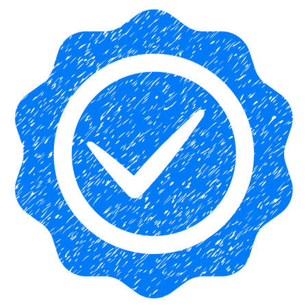 valid: Valid Seal grainy textured icon for overlay watermark stamps. Flat symbol with dirty texture. Dotted raster blue ink rubber seal stamp with grunge design on a white background. Stock Photo