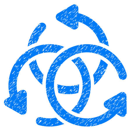 complex navigation: Knot Rotation grainy textured icon for overlay watermark stamps. Flat symbol with dirty texture. Dotted glyph blue ink rubber seal stamp with grunge design on a white background.