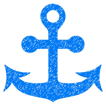 Anchor grainy textured icon for overlay watermark stamps. Flat symbol with scratched texture. Dotted glyph blue ink rubber seal stamp with grunge design on a white background.