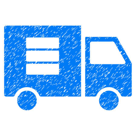 Data Transfer Van grainy textured icon for overlay watermark stamps. Flat symbol with dirty texture. Dotted glyph blue ink rubber seal stamp with grunge design on a white background.