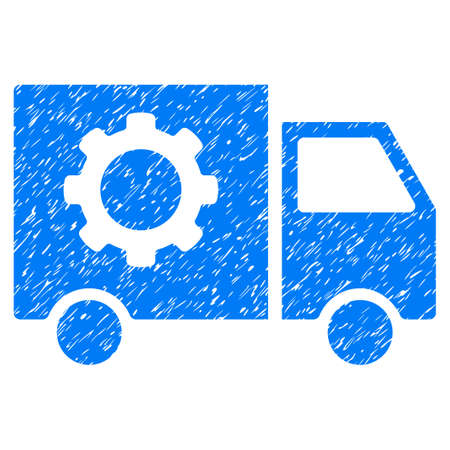Gear Tools Delivery Car grainy textured icon for overlay watermark stamps. Flat symbol with scratched texture. Dotted glyph blue ink rubber seal stamp with grunge design on a white background. Stock Photo